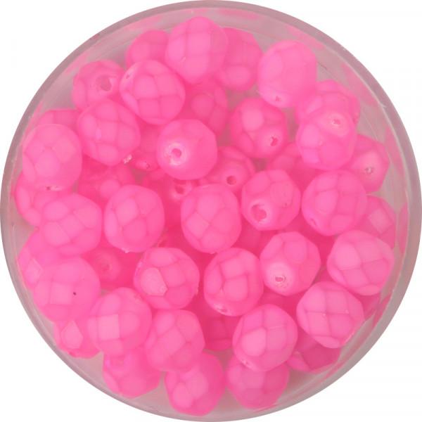 Glasschliffperlen, feuerpoliert, 6 mm, opal matt rosa