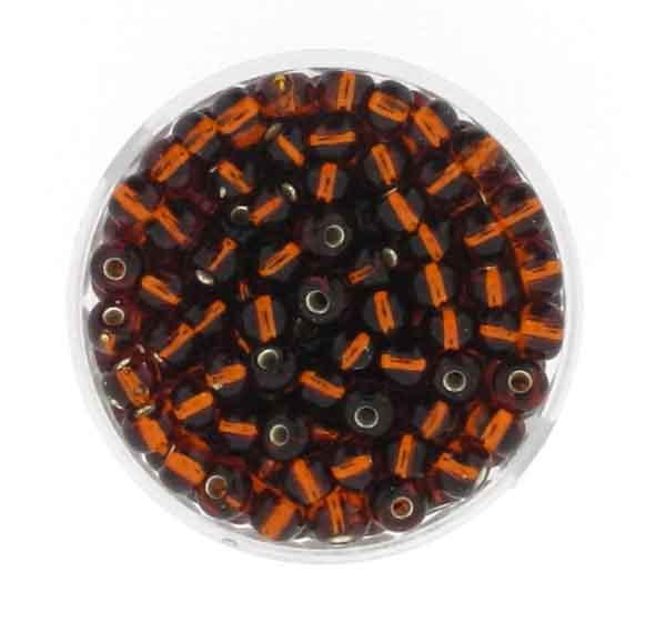 Rocailles, silbereinzug, 4,5mm, 17gr. Dose, dkl.braun