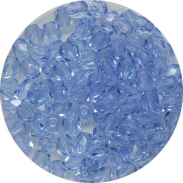Glasschliffperlen,feuerpoliert, 4 mm, hellsafir