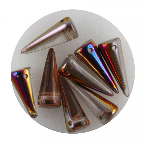 Spike Beads,7x17mm,8 Stück,kristall kupfer AB