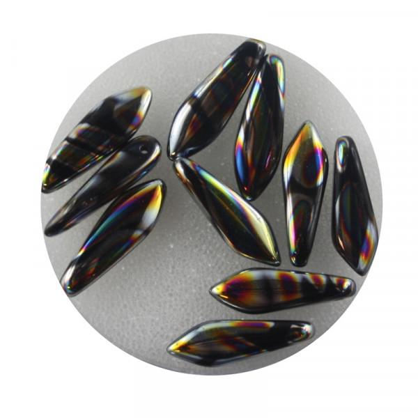 Dagger-Beads, 10 Stück pro Dose, 16x5mm,schwarz bunt