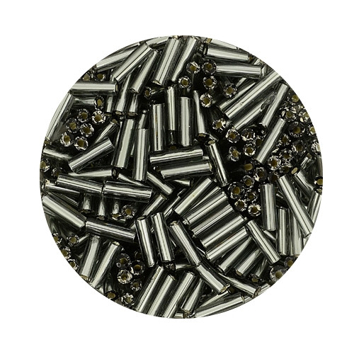 Glasstifte aus China, 17gr. Dose, 6mm, dunkelblau silbereinzug